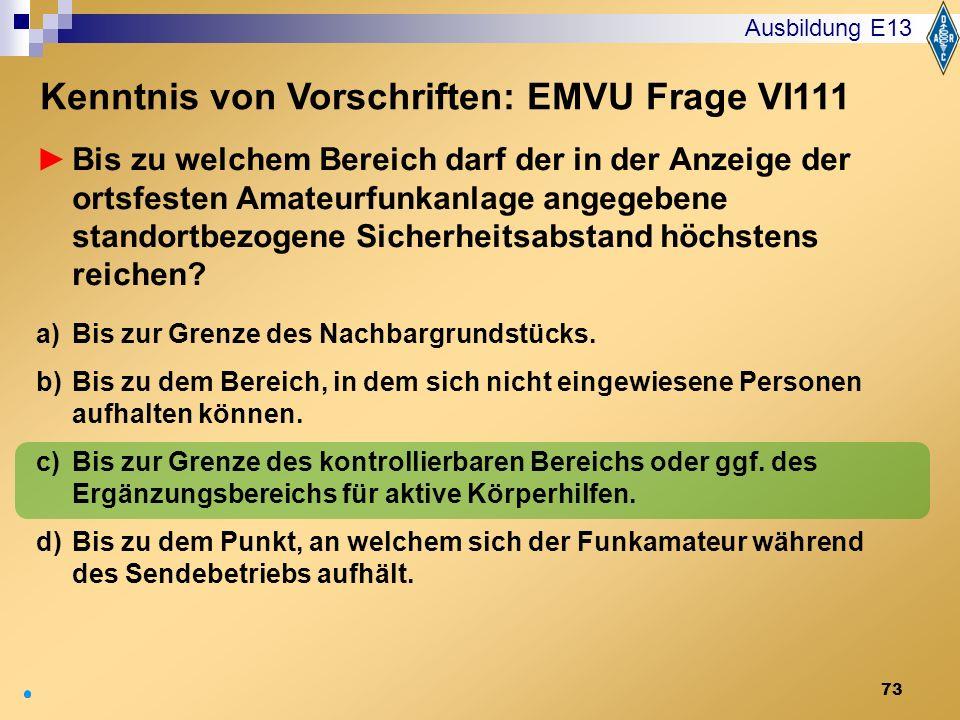 Kenntnis von Vorschriften: EMVU Frage VI111