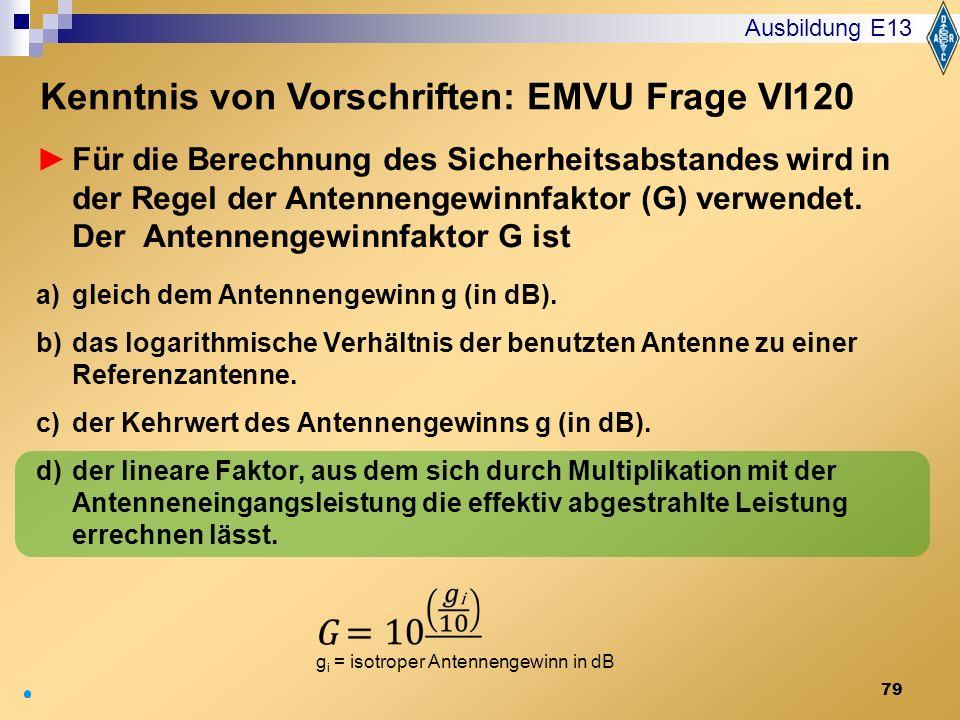 Kenntnis von Vorschriften: EMVU Frage VI120