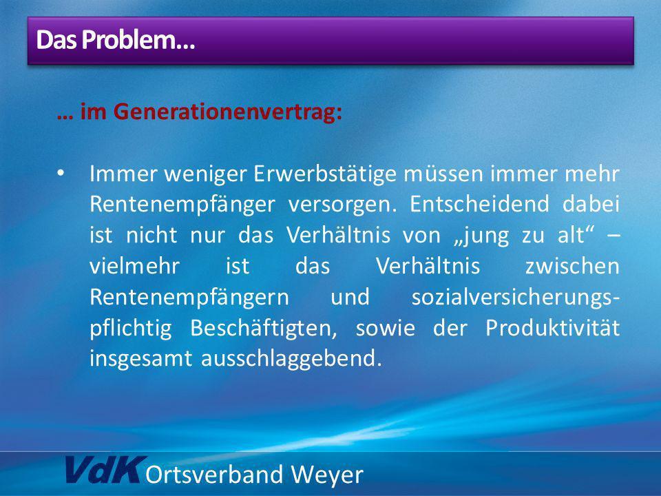VdK Ortsverband Weyer Das Problem… … im Generationenvertrag: