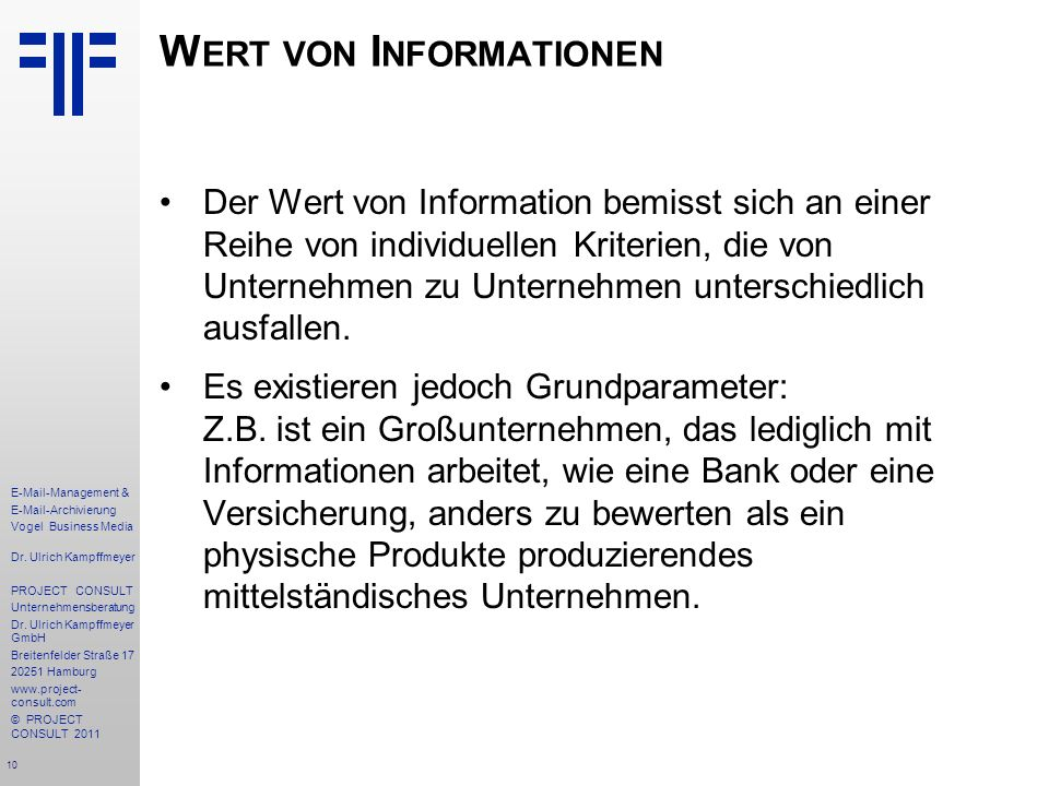 Wert von Informationen