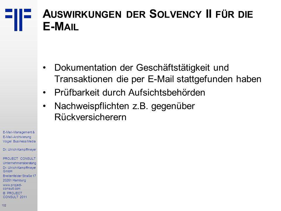 Auswirkungen der Solvency II für die E-Mail