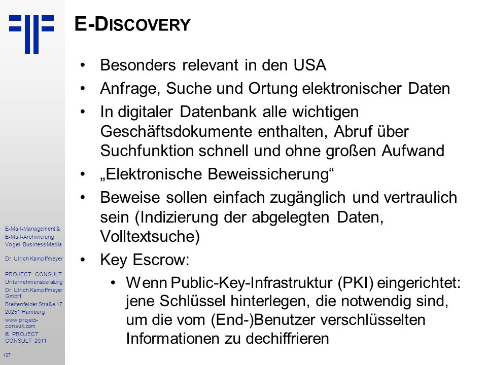 E-Discovery Besonders relevant in den USA