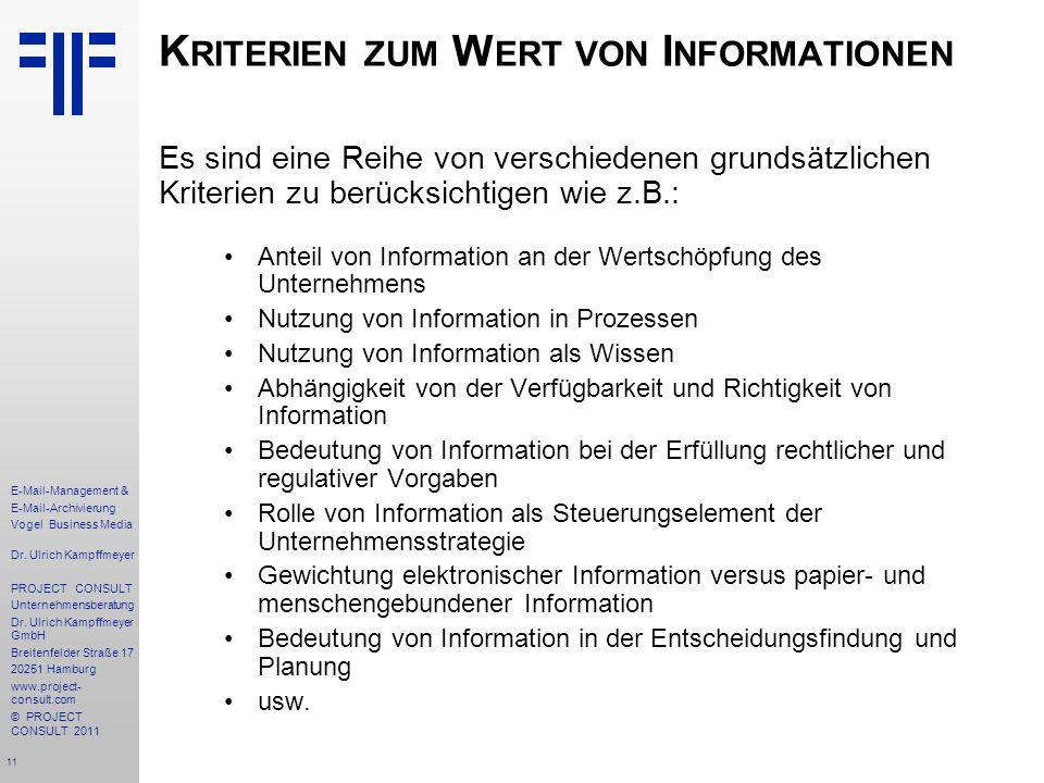 Kriterien zum Wert von Informationen