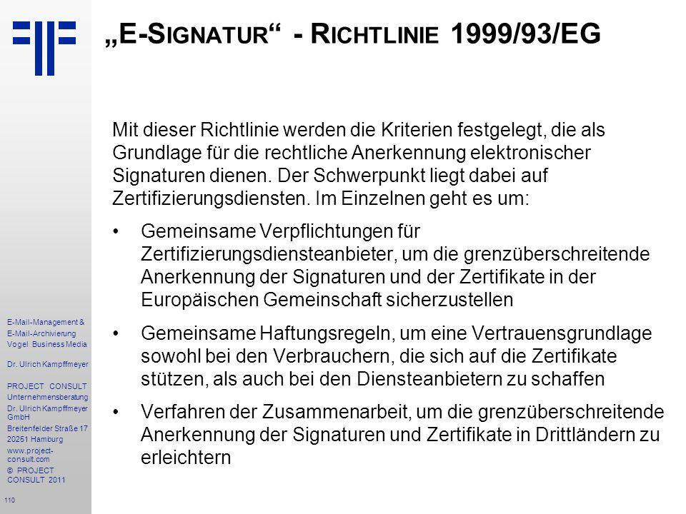 """E-Signatur - Richtlinie 1999/93/EG"
