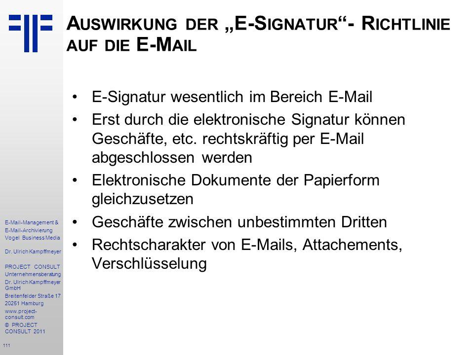 """Auswirkung der """"E-Signatur - Richtlinie auf die E-Mail"""