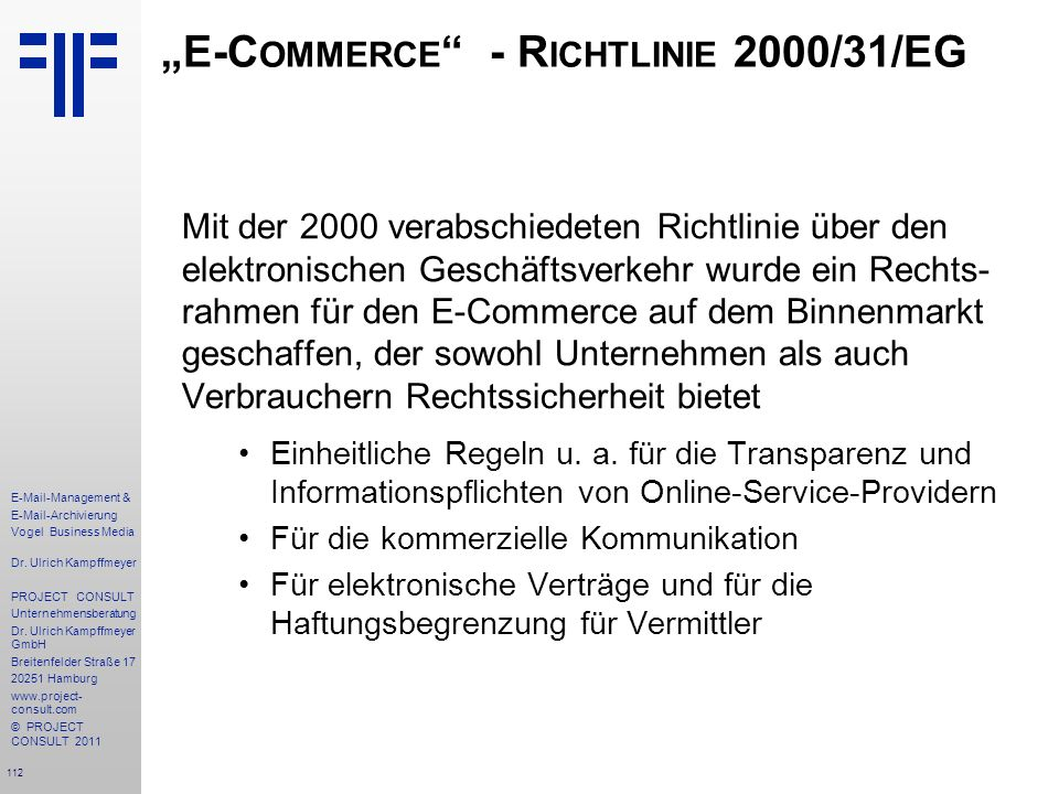 """E-Commerce - Richtlinie 2000/31/EG"