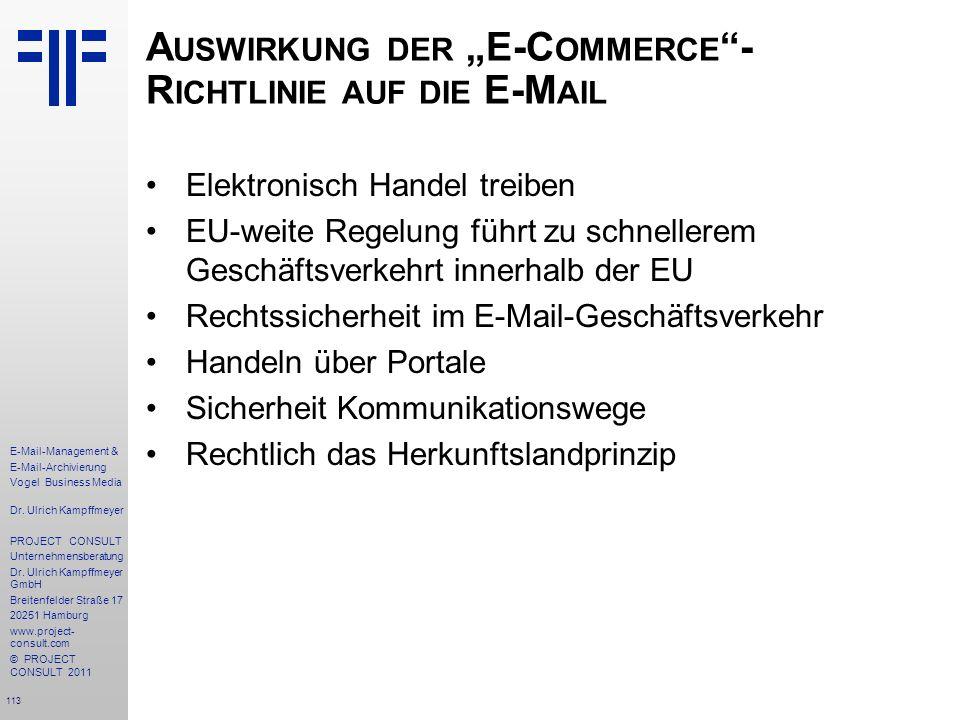 """Auswirkung der """"E-Commerce -Richtlinie auf die E-Mail"""
