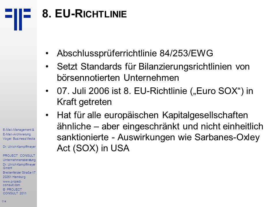 8. EU-Richtlinie Abschlussprüferrichtlinie 84/253/EWG