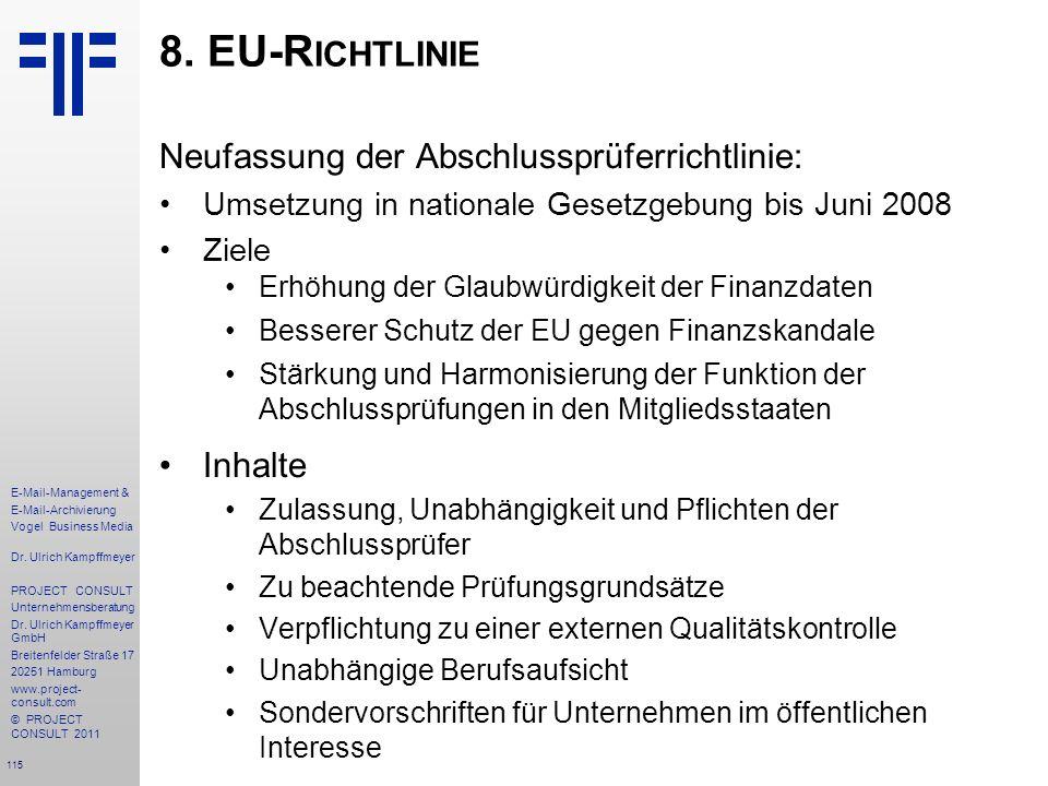 8. EU-Richtlinie Neufassung der Abschlussprüferrichtlinie: Inhalte