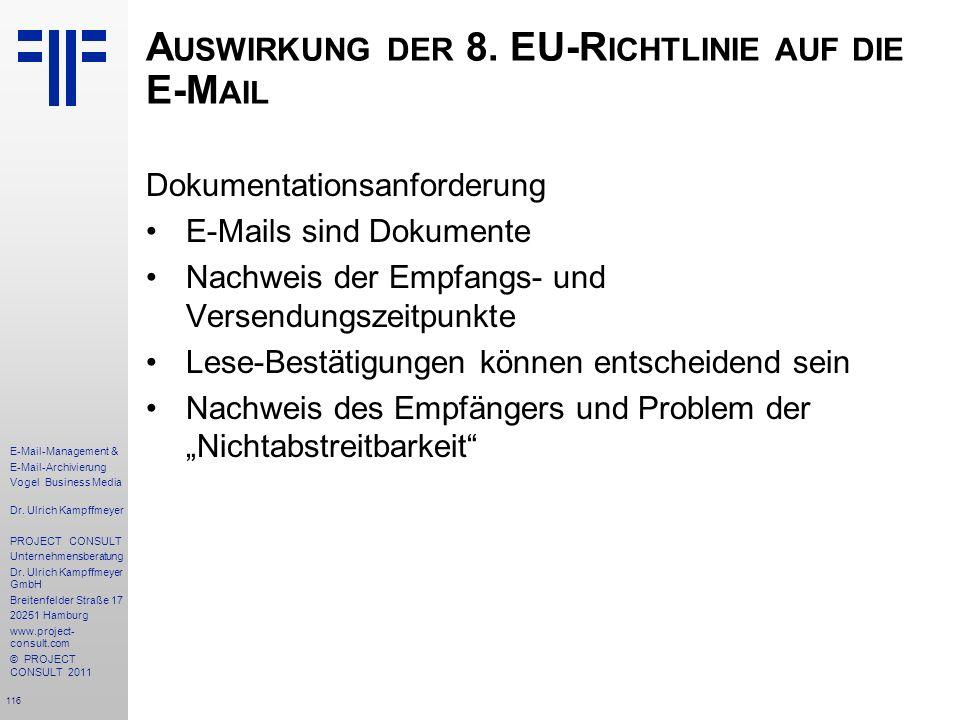 Auswirkung der 8. EU-Richtlinie auf die E-Mail