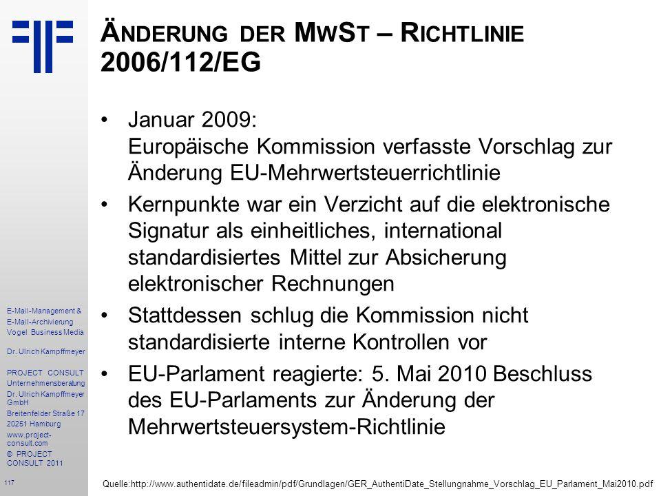 Änderung der MwSt – Richtlinie 2006/112/EG