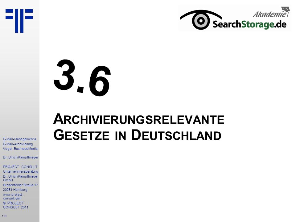 Archivierungsrelevante Gesetze in Deutschland