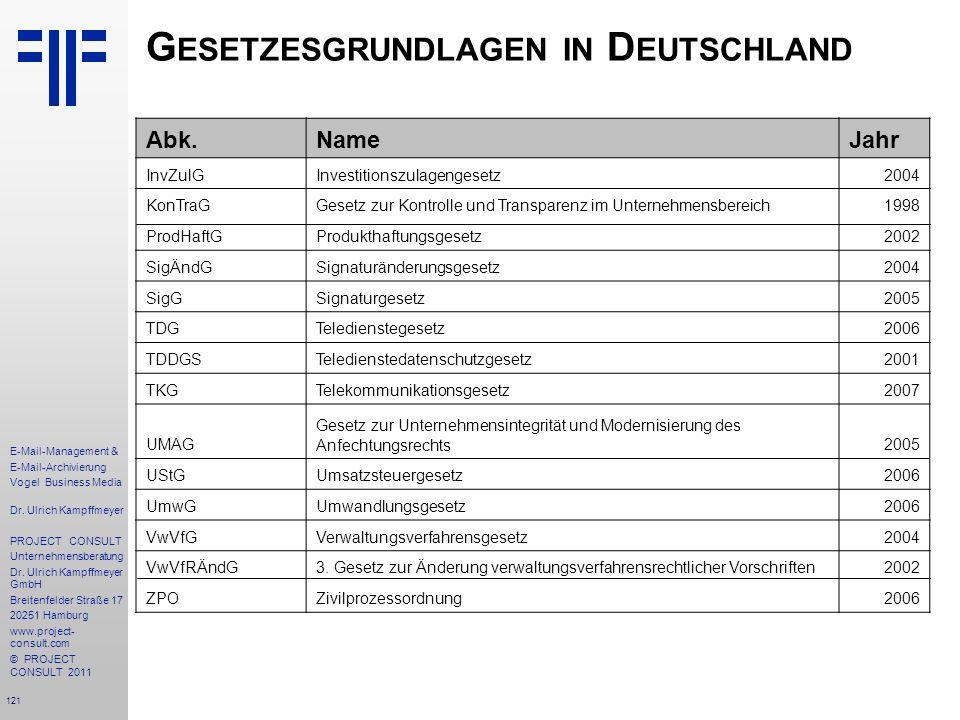 Gesetzesgrundlagen in Deutschland