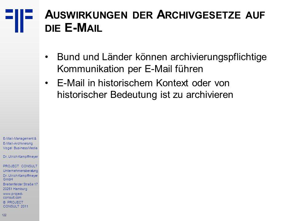 Auswirkungen der Archivgesetze auf die E-Mail