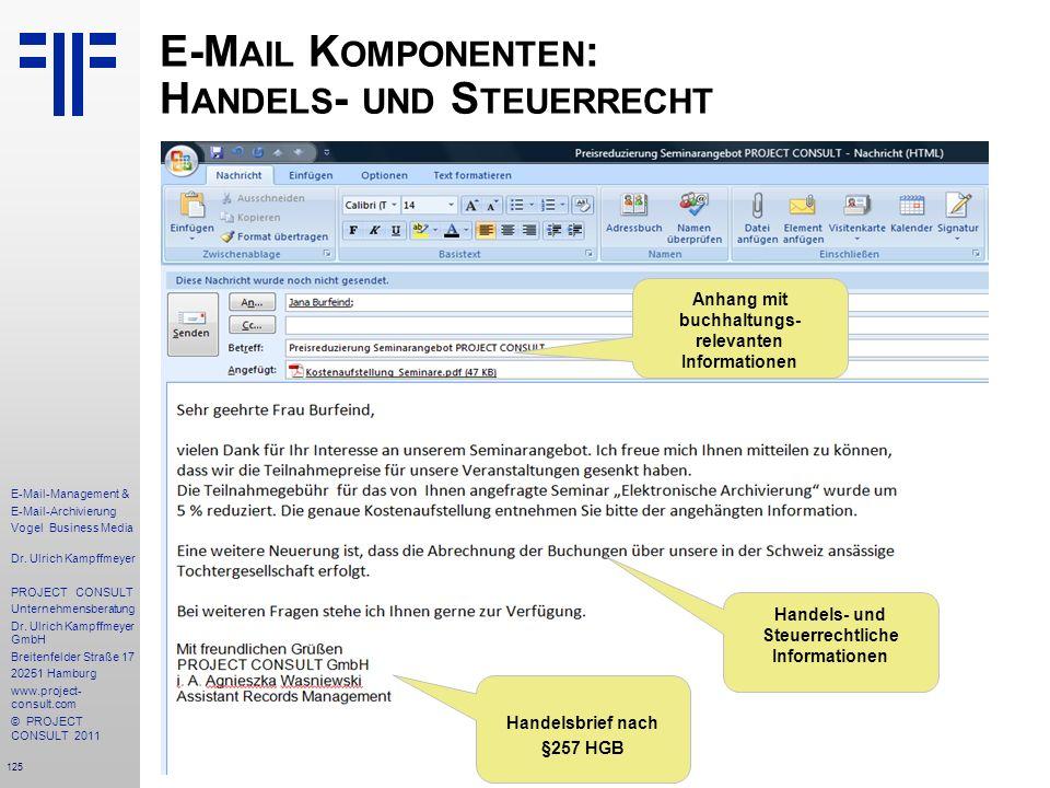 E-Mail Komponenten: Handels- und Steuerrecht
