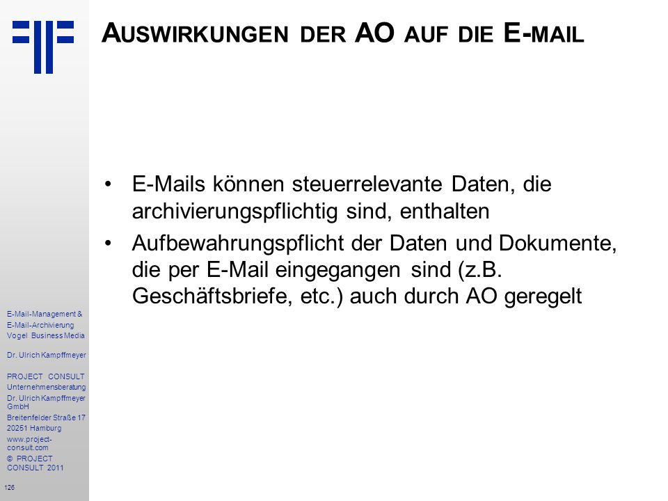 Auswirkungen der AO auf die E-mail