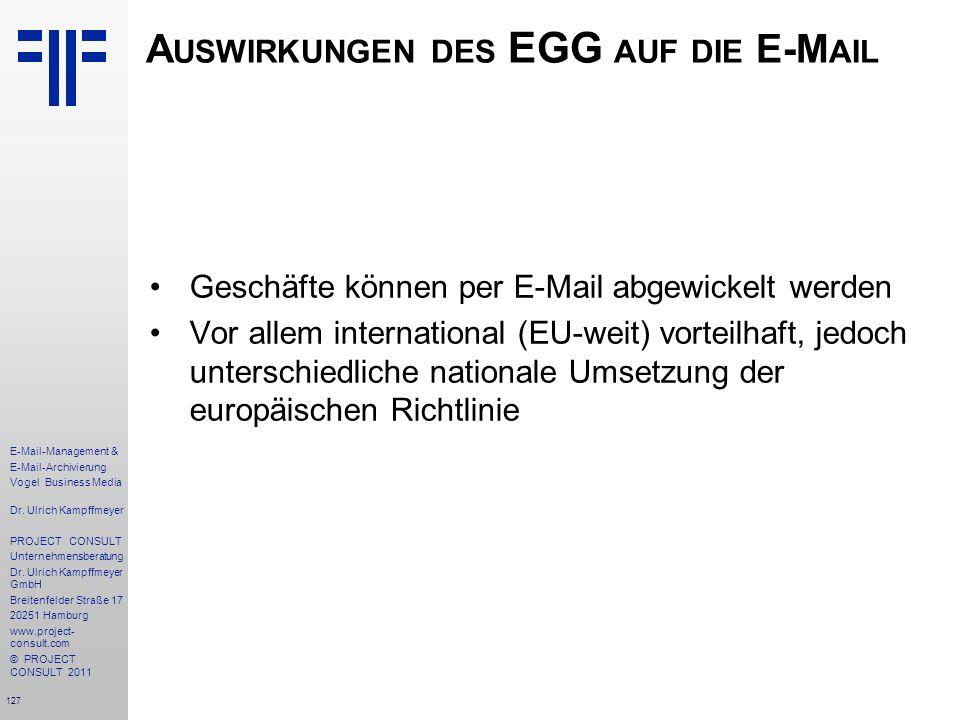 Auswirkungen des EGG auf die E-Mail