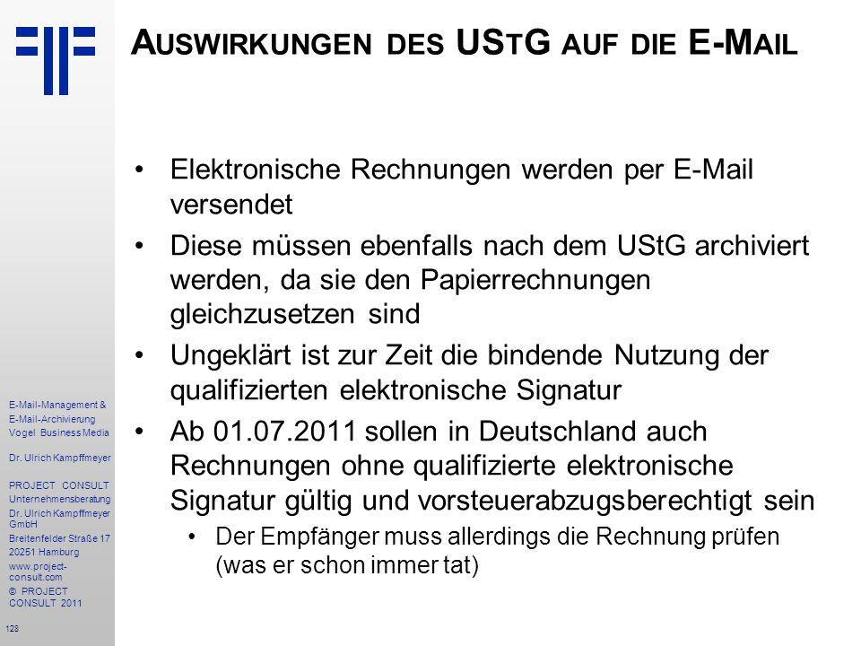 Auswirkungen des UStG auf die E-Mail