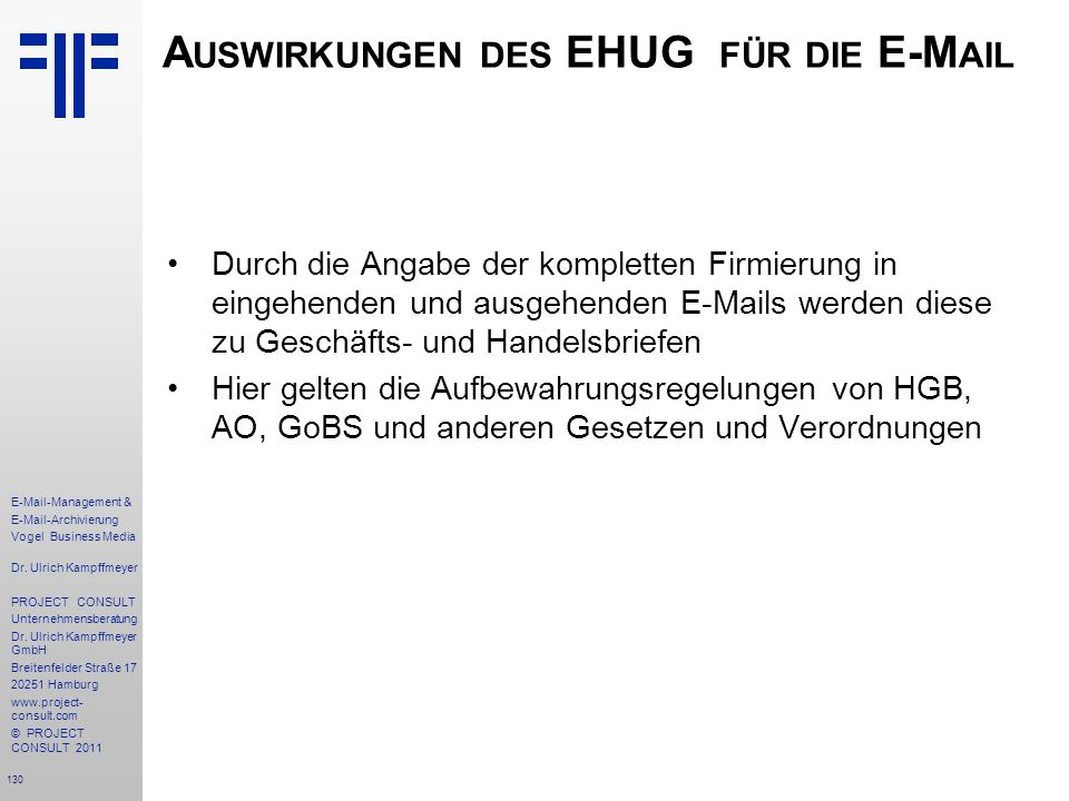 Auswirkungen des EHUG für die E-Mail
