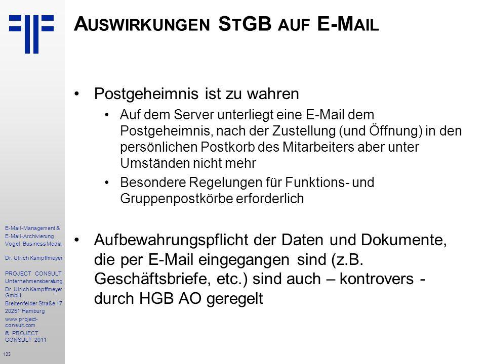 Auswirkungen StGB auf E-Mail