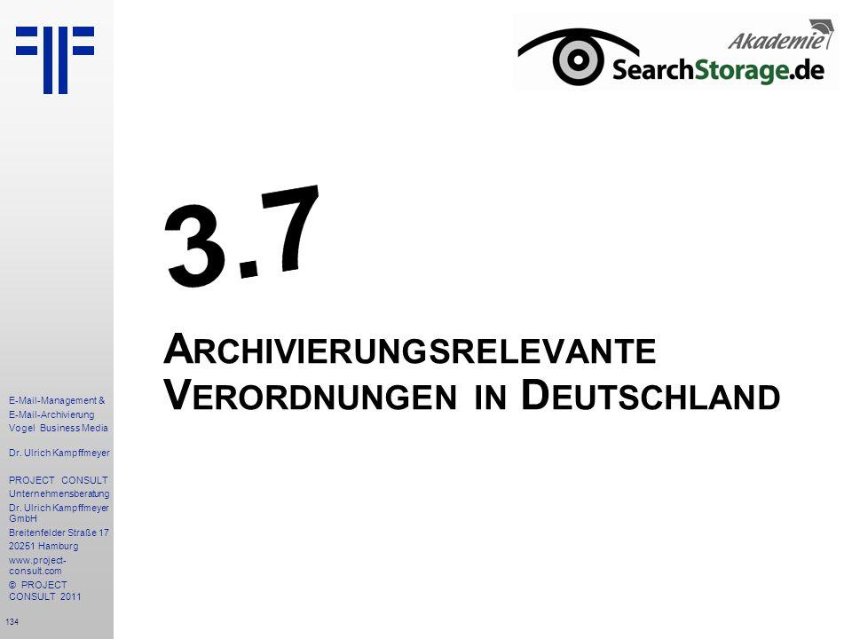 Archivierungsrelevante Verordnungen in Deutschland