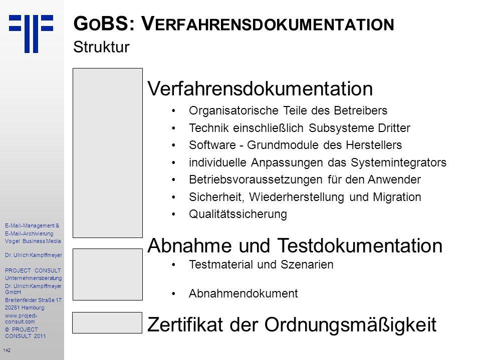GoBS: Verfahrensdokumentation