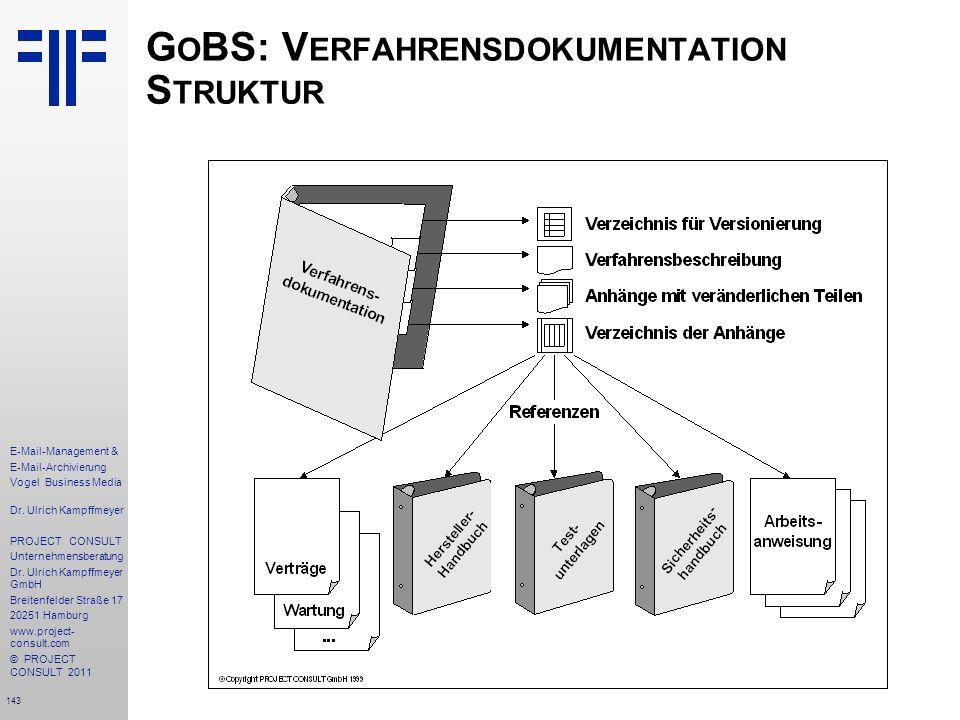 GoBS: Verfahrensdokumentation Struktur