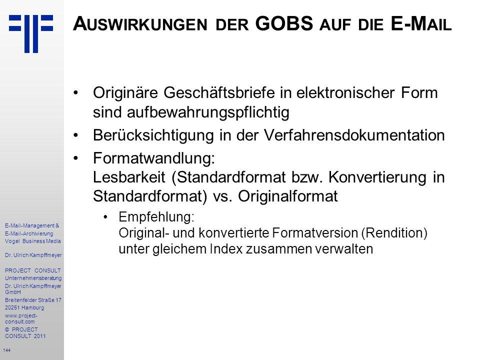 Auswirkungen der GOBS auf die E-Mail