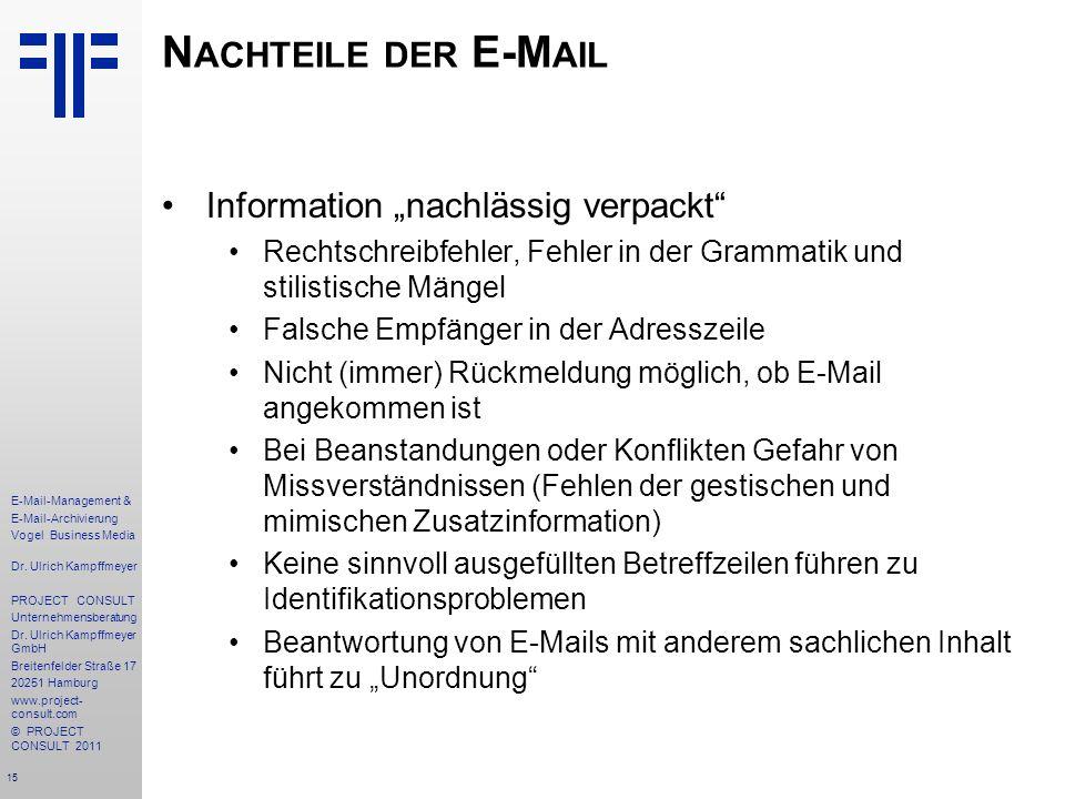 """Nachteile der E-Mail Information """"nachlässig verpackt"""