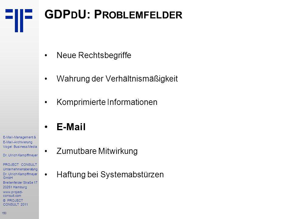 GDPdU: Problemfelder E-Mail Neue Rechtsbegriffe