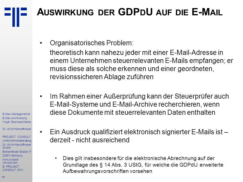 Auswirkung der GDPdU auf die E-Mail