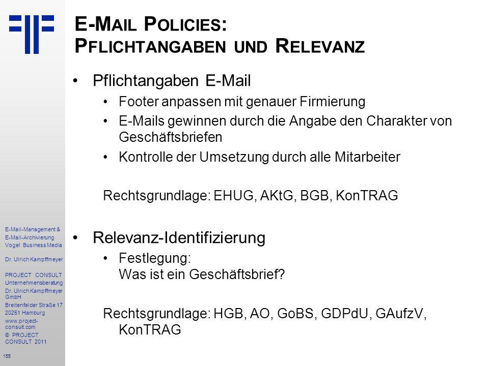 E-Mail Policies: Pflichtangaben und Relevanz