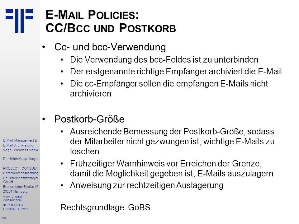 E-Mail Policies: CC/Bcc und Postkorb