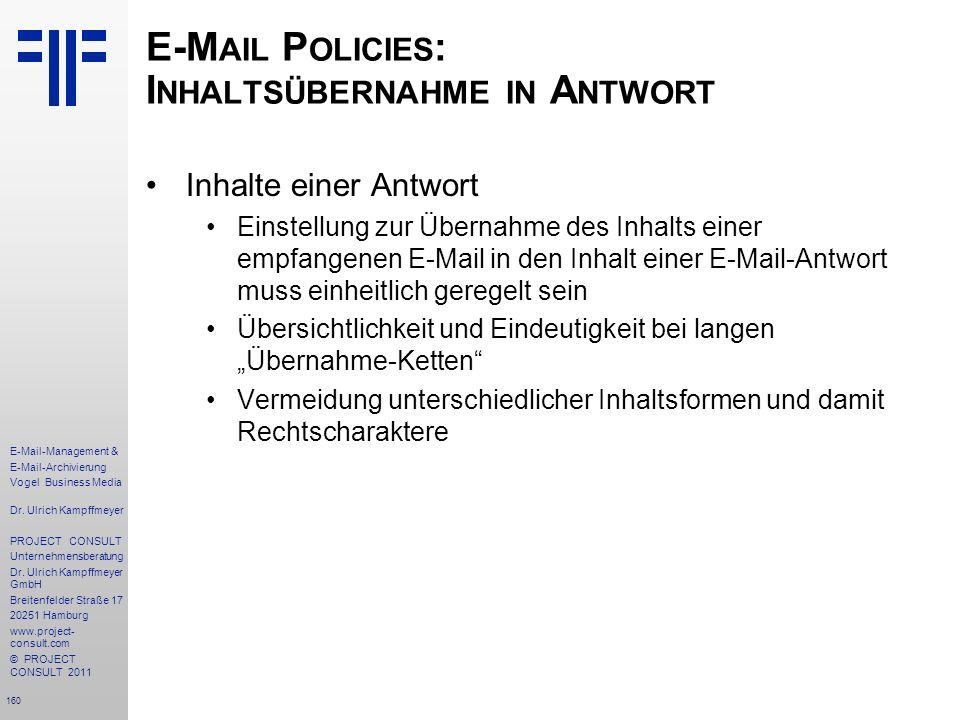 E-Mail Policies: Inhaltsübernahme in Antwort