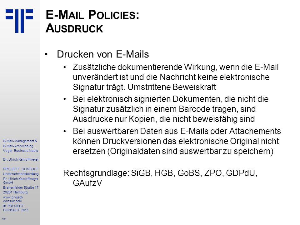 E-Mail Policies: Ausdruck