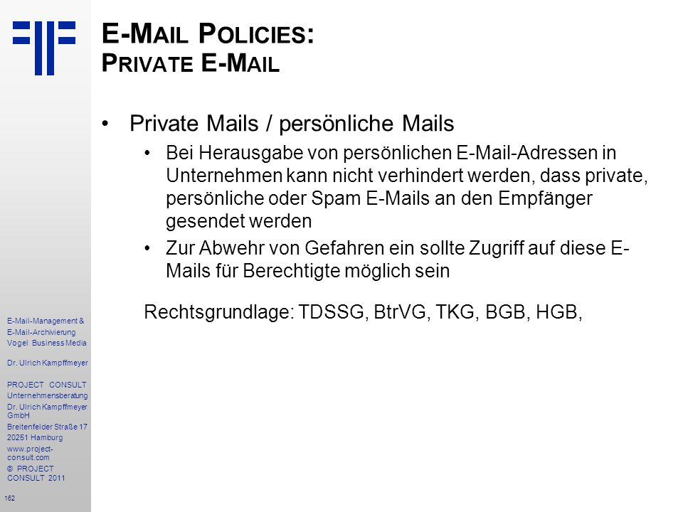 E-Mail Policies: Private E-Mail