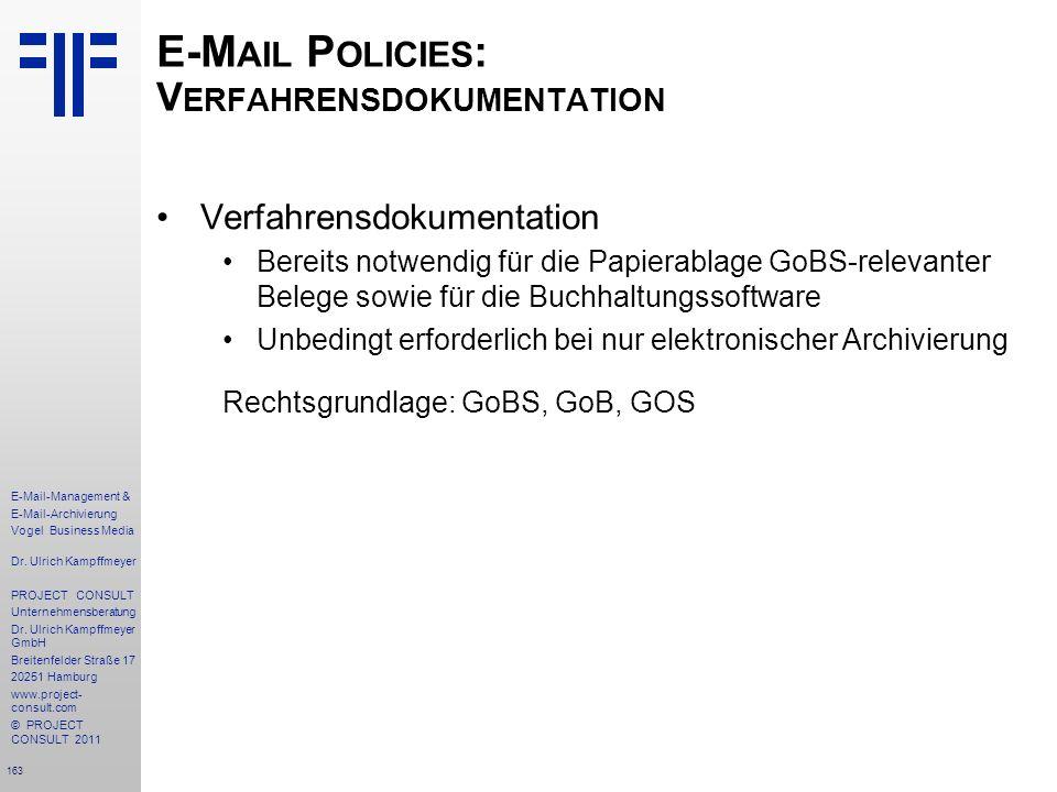 E-Mail Policies: Verfahrensdokumentation
