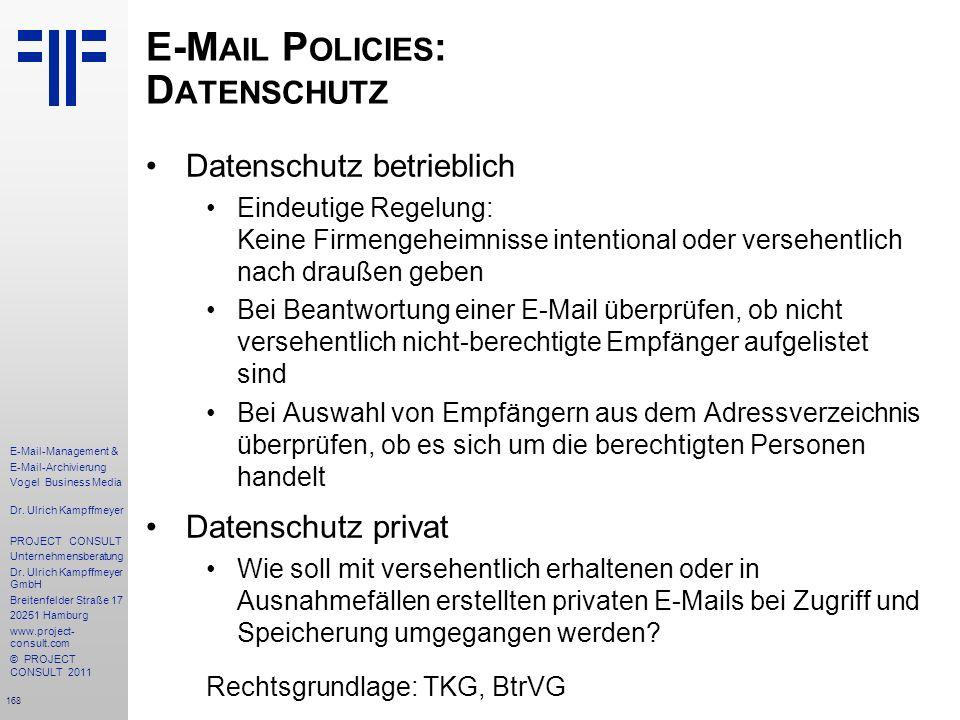 E-Mail Policies: Datenschutz