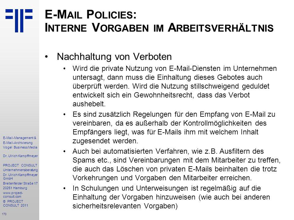 E-Mail Policies: Interne Vorgaben im Arbeitsverhältnis