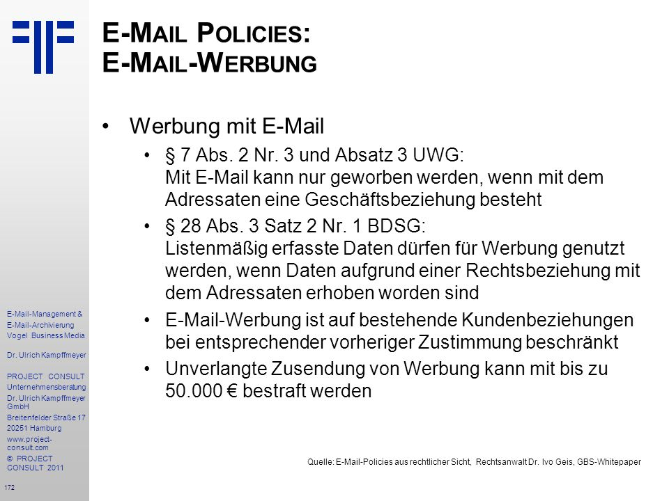 E-Mail Policies: E-Mail-Werbung