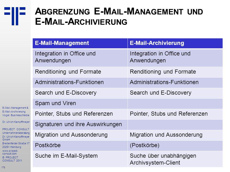 Abgrenzung E-Mail-Management und E-Mail-Archivierung
