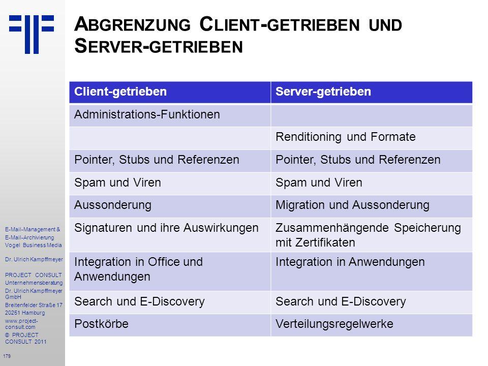 Abgrenzung Client-getrieben und Server-getrieben