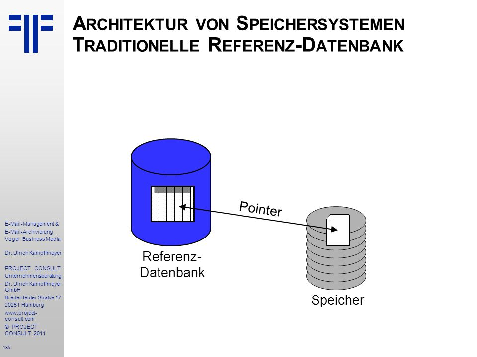 Architektur von Speichersystemen Traditionelle Referenz-Datenbank