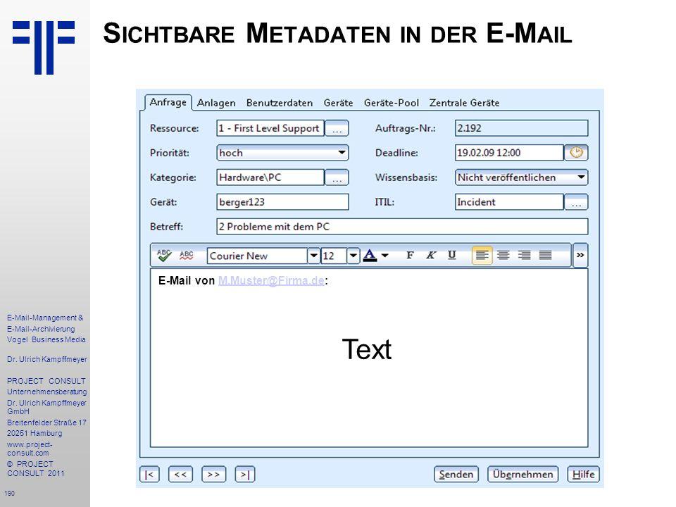 Sichtbare Metadaten in der E-Mail
