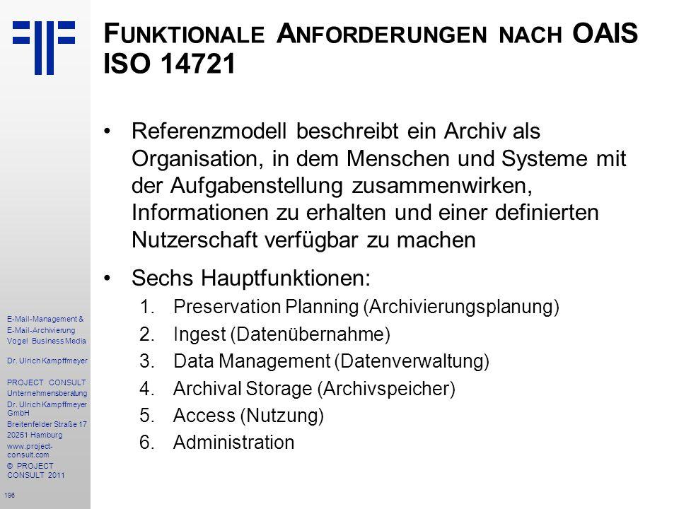 Funktionale Anforderungen nach OAIS ISO 14721