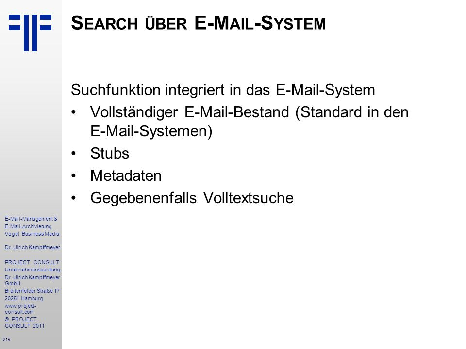 Search über E-Mail-System