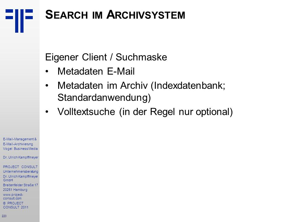 Search im Archivsystem