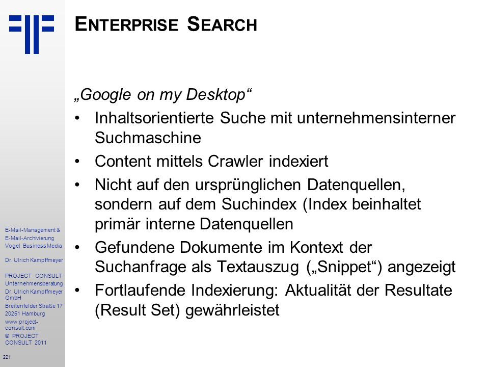 "Enterprise Search ""Google on my Desktop"