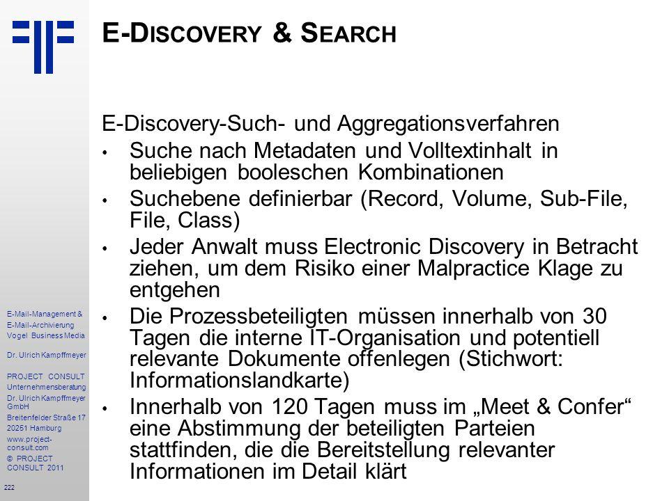 E-Discovery & Search E-Discovery-Such- und Aggregationsverfahren