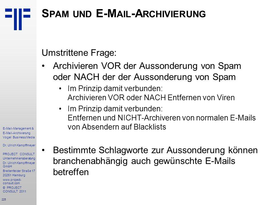 Spam und E-Mail-Archivierung